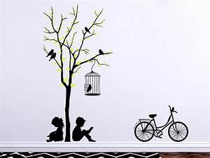 Wandtattoo Baum Kinder : wandtattoo baum mit kindern und fahrrad von ~ Whattoseeinmadrid.com Haus und Dekorationen