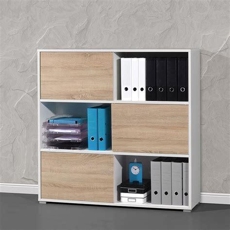 armoire basse de bureau armoire de bureau basse bois et blanc leader