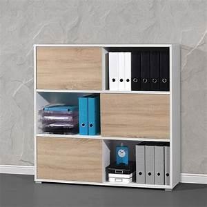 Armoire De Rangement Bureau : armoire de bureau basse bois et blanc leader ~ Dailycaller-alerts.com Idées de Décoration