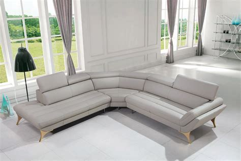 New Sectional by Divani Casa Graphite Modern Grey Leather Sectional Sofa