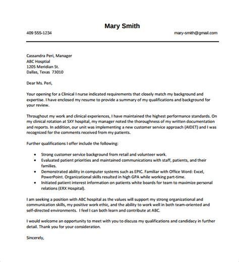 nursing cover letter sles free