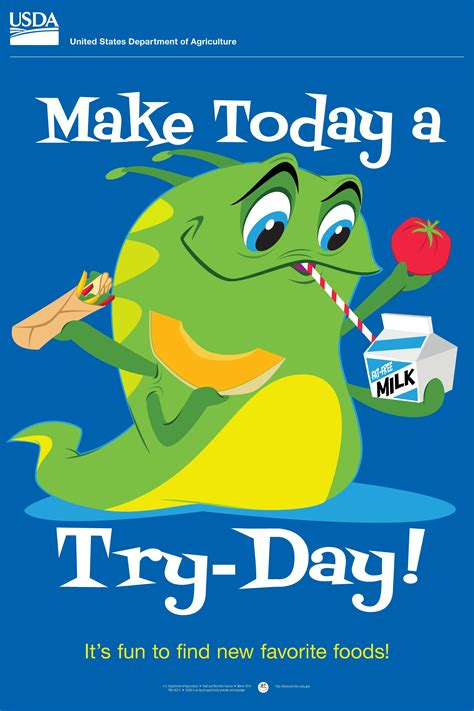 Eat with others whenever possible. Make Today a Try-Day! http://www.fns.usda.gov/tn/elementary-posters / It'd be fun to make it Try ...