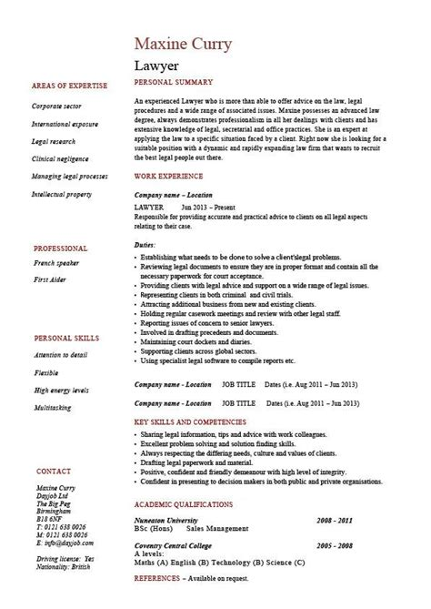 Typical Cv Template by Lawyer Cv Template Curriculum Vitae
