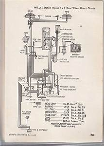 Wiring Diagram Willys Station Wagon 4x4 Chassis  1952 685