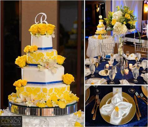 royal blue and yellow damask wedding cake royal blue and