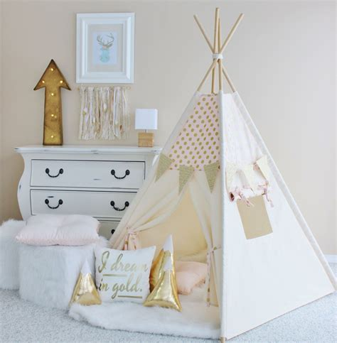Tipi Kinderzimmer by Pink With Gold Polka Dot Canvas Teepee Play