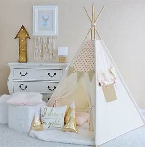 Tipi Chambre Fille : pink with gold glamour polka dot canvas teepee play tent play house nursery teepee tent ~ Teatrodelosmanantiales.com Idées de Décoration