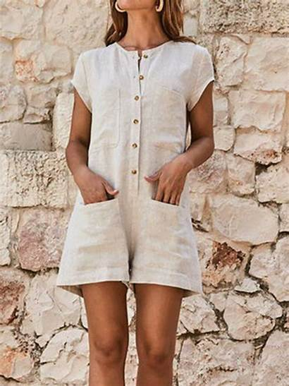 Casual Romper Short Rompers Jumpsuit Pockets Sleeve