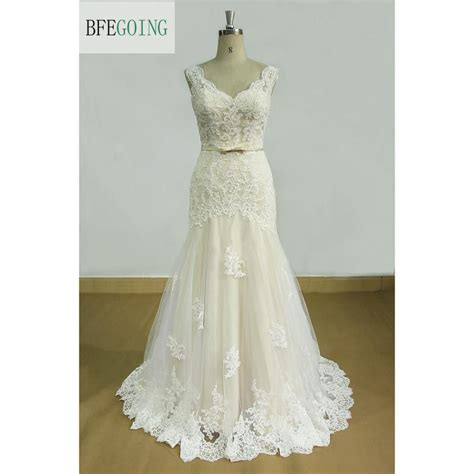 V Neck Tulle Ivory Lace Appliques Sleeveless Floor Length