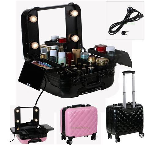 train case with lights professional makeup station artist rolling train case