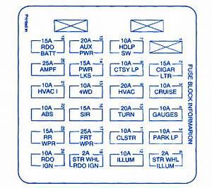 Chevy Zr2 1999 Main Engine Fuse Box  Block Circuit Breaker