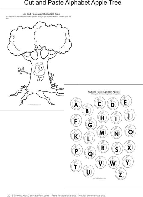 preschool search cut and paste alphabet apple tree http www 330