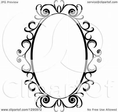 Swirl Oval Frame Vector Clipart Ornate Illustration