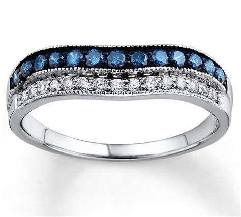 designer blue sapphire  white diamond wedding ring band