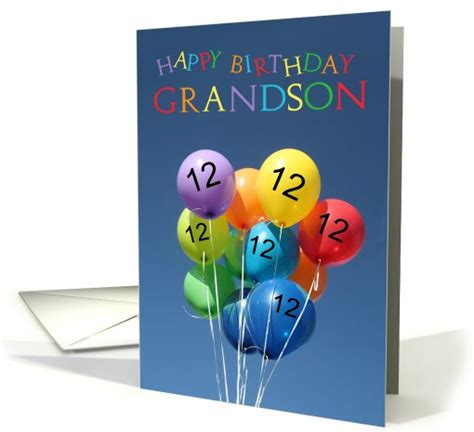 birthday card  grandson colored balloons card