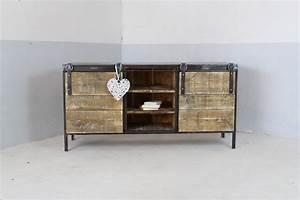 Meuble Bois Et Acier : meuble buffet enfilade industriel loft industeel ~ Teatrodelosmanantiales.com Idées de Décoration