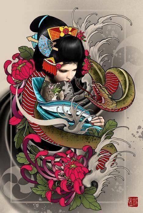 geisha tattoo images  pinterest geishas japan