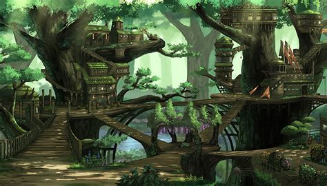 fantasy treehouse city high quality parallax background