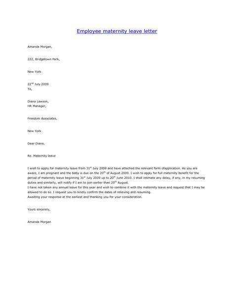 sample maternity leave letter employer 10 best images of maternity leave notice letter to