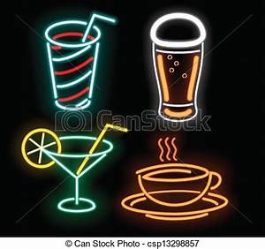 Neon Fastfood Royalty Free Vector Clipart csp