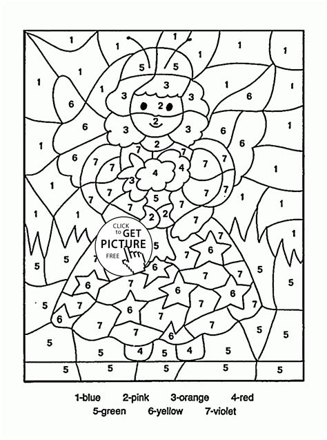 Color by Number Little Fairy coloring page for kids ...