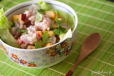 cuisine pavé de saumon tartare de thon à la nectarine et à la coriandre food for