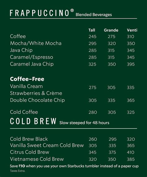 Check out the starbucks menu, our quick breakfast ideas and nutritional information. Starbucks Coffee Menu, Menu for Starbucks Coffee, Church Street, Central Bengaluru, Bengaluru