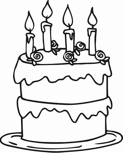 Cake Birthday Coloring Pages Printable Candles Clipart
