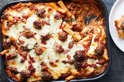 baked ziti  sausage meatballs  spinach recipe nyt