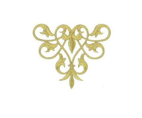 gold applique fleur de lis abstract design gold metallic applique