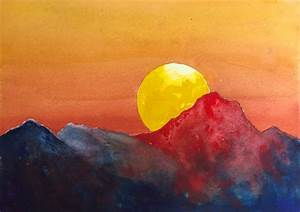 Dramatic Sunset watercolor tutorial, an easy step by step ...