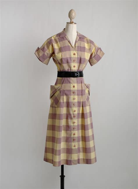 1940s check dress with tucks   dramatic pockets   Hemlock