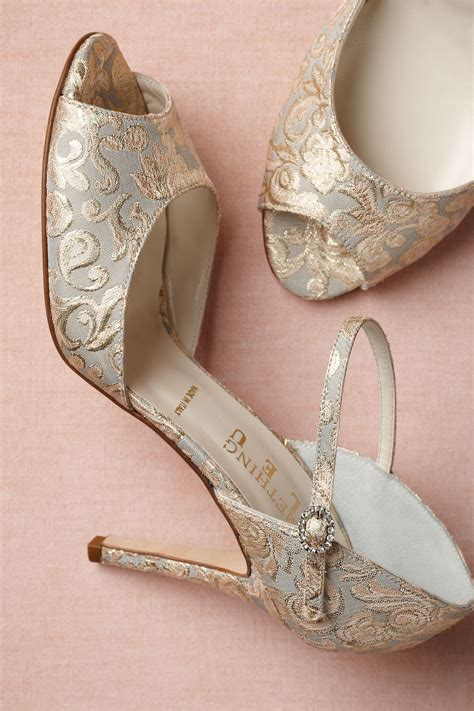 retro wedding shoes  bhldn elegant embroidered