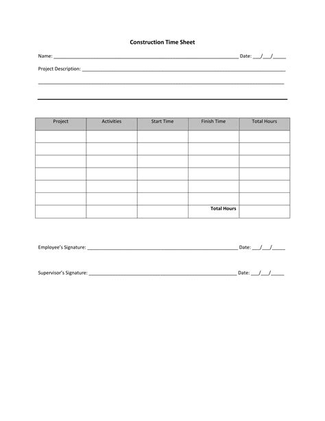 construction timesheet template excel