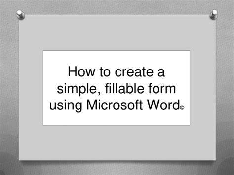 how to create a simple fillable form using microsoft word