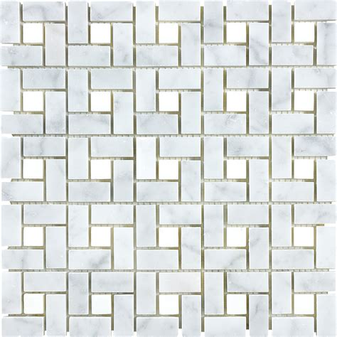 marble mosaic shop anatolia tile carrara pinwheel basketweave mosaic marble wall tile common 12 in x 12 in