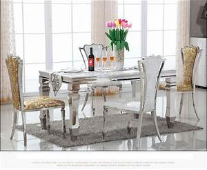 marble top dining table and chair dining room set With stainless steel dining table set