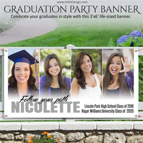 ashe design photoshop template grad party photo banner