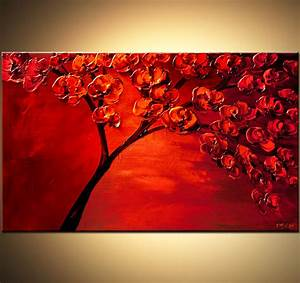 Painting - textured painting of blooming red tree #6128