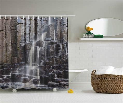 gray fabric shower curtain gray rocky waterfall nature fabric shower curtain