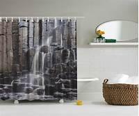 nature shower curtains Gray Rocky Waterfall Stream Nature Fabric Shower Curtain Digital Art Bathroom | eBay
