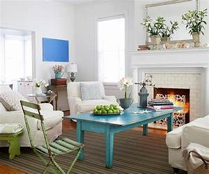 Create contrast by adding a pop of color to a white decor for Beach cottage living room ideas pinterest