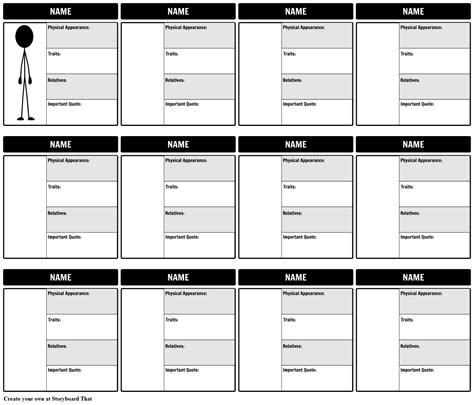character chart template put a to the name create better character maps with storyboards