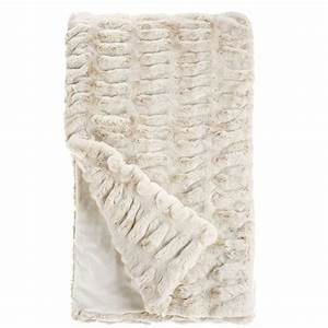 Ivory Mink Faux Fur Throw Blanket Throws & Pillow