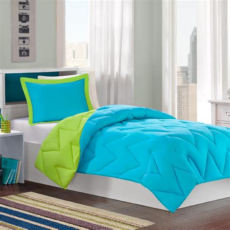 colormate turquoiselime reversible mini bed set  pieces