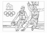 Coloring Basketball Olympic Games Rio Olympics Adult Pages Sport Adults sketch template