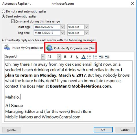 message absence bureau outlook how to master outlook 39 s out of office automatic replies