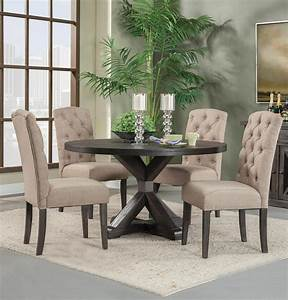 Alpine, Newberry, 54, U0026quot, Round, Dining, Room, Table, Set, In, Salvaged, Grey