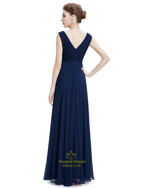 Navy Blue Floor Length Chiffon Prom Dress With Beaded Lace