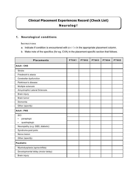 Comprehensive Neuro Physical Therapy Template by Competency Checklist Neurological